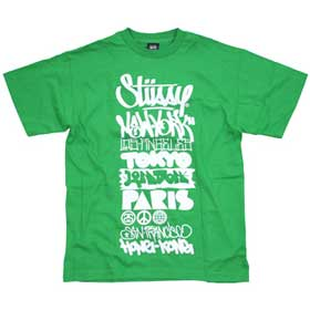T-shirt Stussy World Tour Pea Green