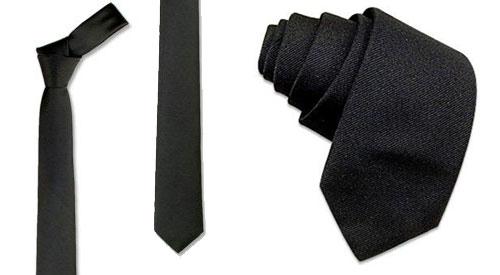 Cravate noire fine en soie