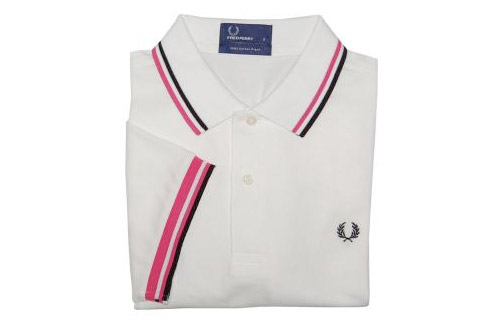 polo-fred-perry-blanc-rose-noir