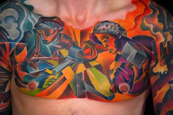 tatouage pectoro