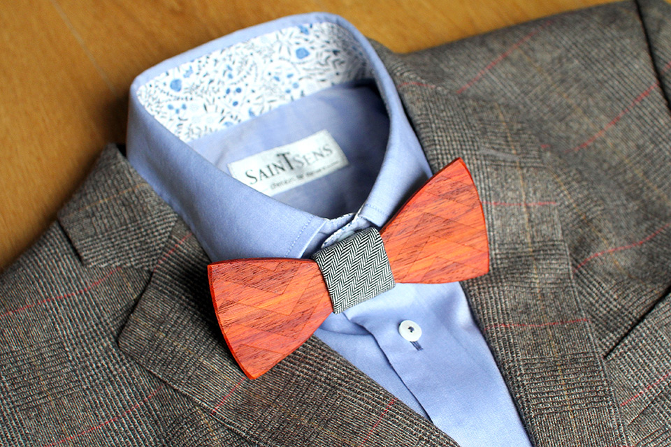 Noeud Papillon bois Tweed