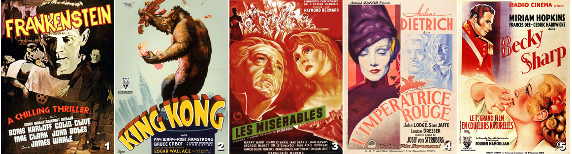 1 - Frankenstein - King Kong - Les Misérables - L'impératrice Rouge - Becky Sharp