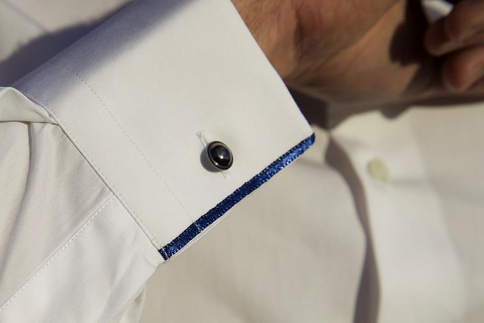 chemise cavalier bleu lisere