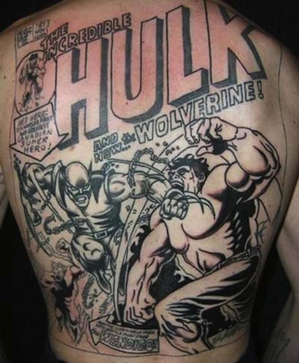 tatouage dos homme bande dessinée