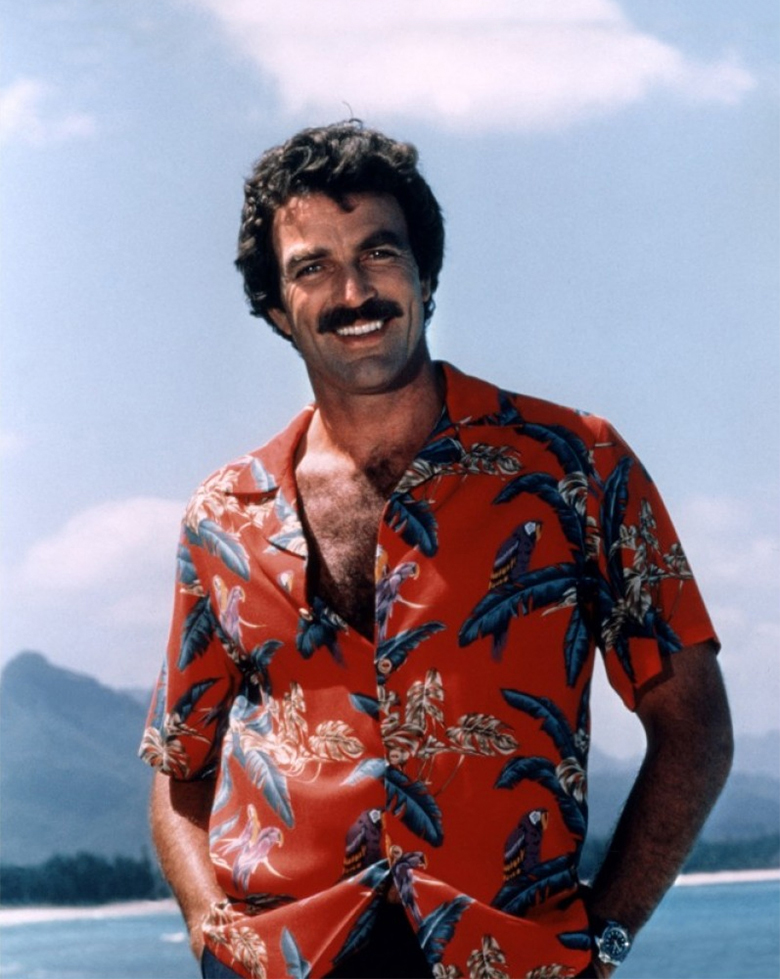 tom selleck magnum chemise hawai