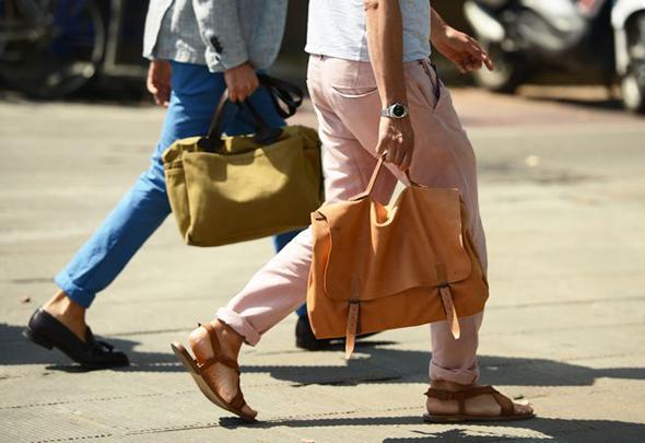 sandal cuir marron homme