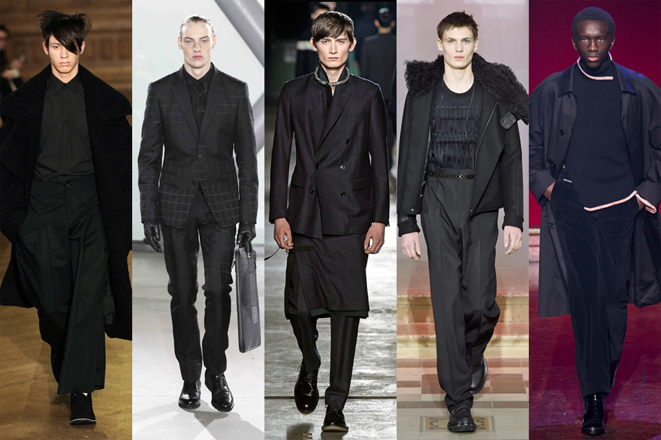 la tendance du total look noir black men paris fashion week 2015