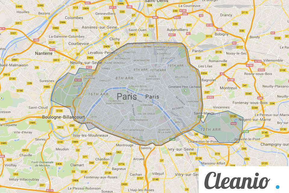 Paris map pressing Cleanio