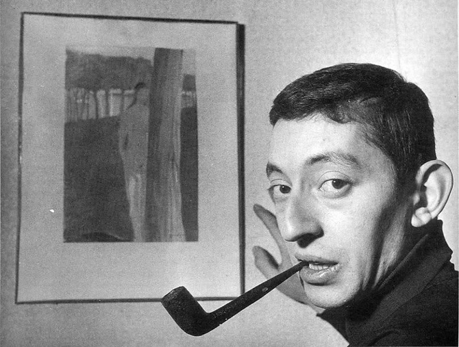 serge gainsbourg icone de mode peinture pipe