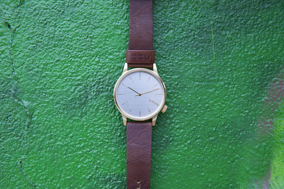 Montre Komono Winston Or Cuir Marron