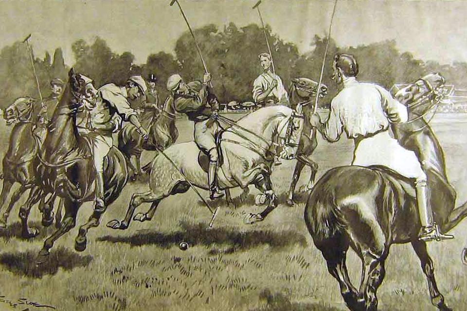 illustration joueurs de polo ancienne