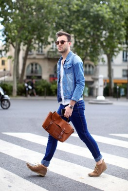 Desert boots Look denim