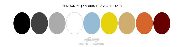 couleurs 50s tendance ete 2016