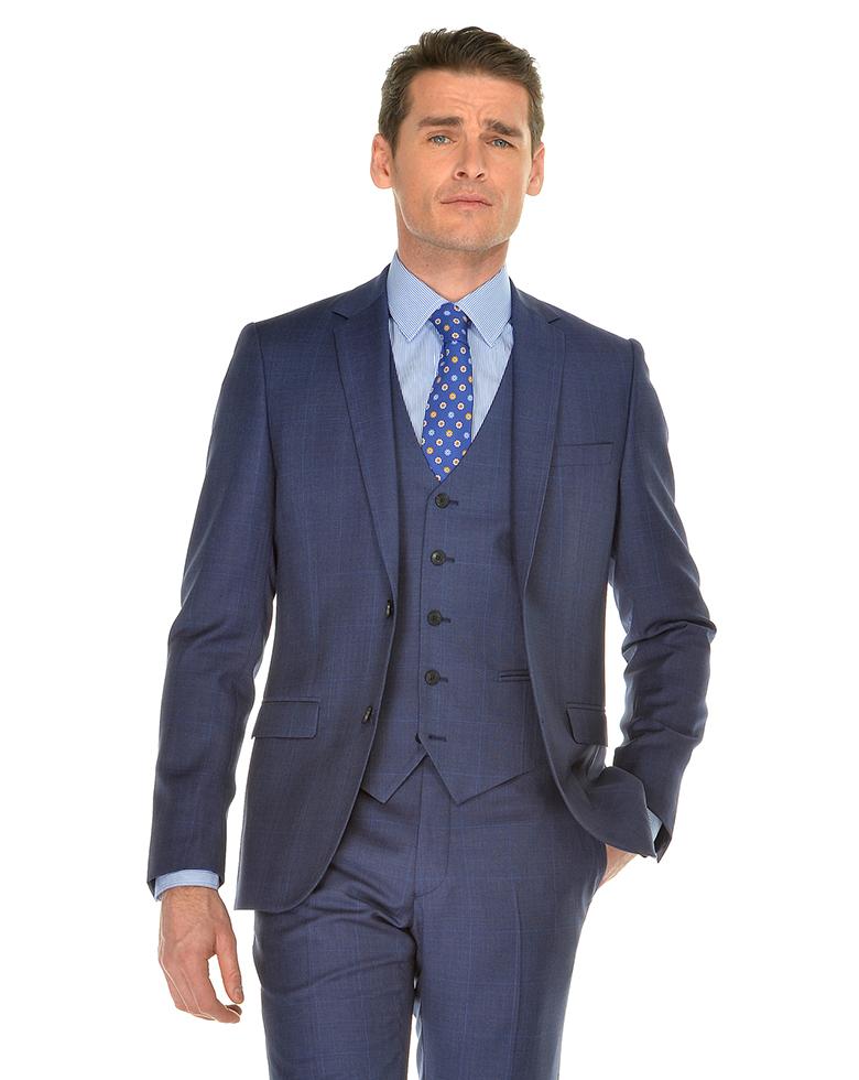 Costume mariage bleu carreaux Anthony Garcon