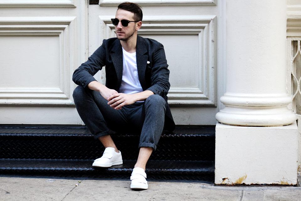 NYC SoHo pantalon laine gris Oliver Spencer