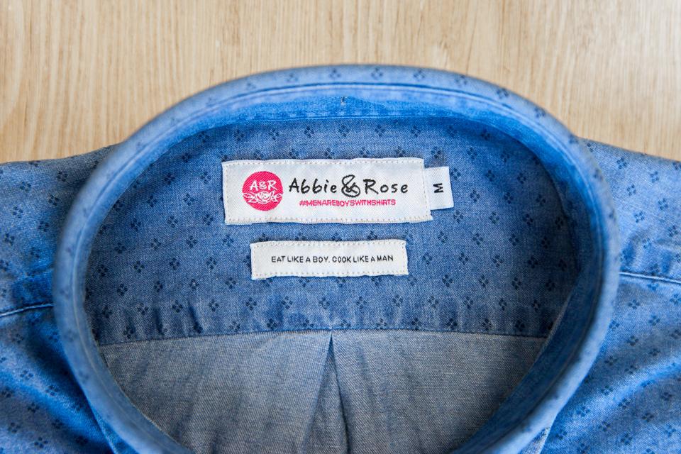 Chemise Abbie Rose Motifs Bleu Col Interieur