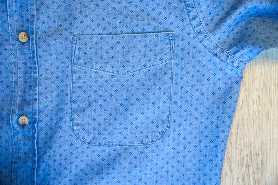 Chemise Abbie Rose Motifs Bleu Poche Poitrine