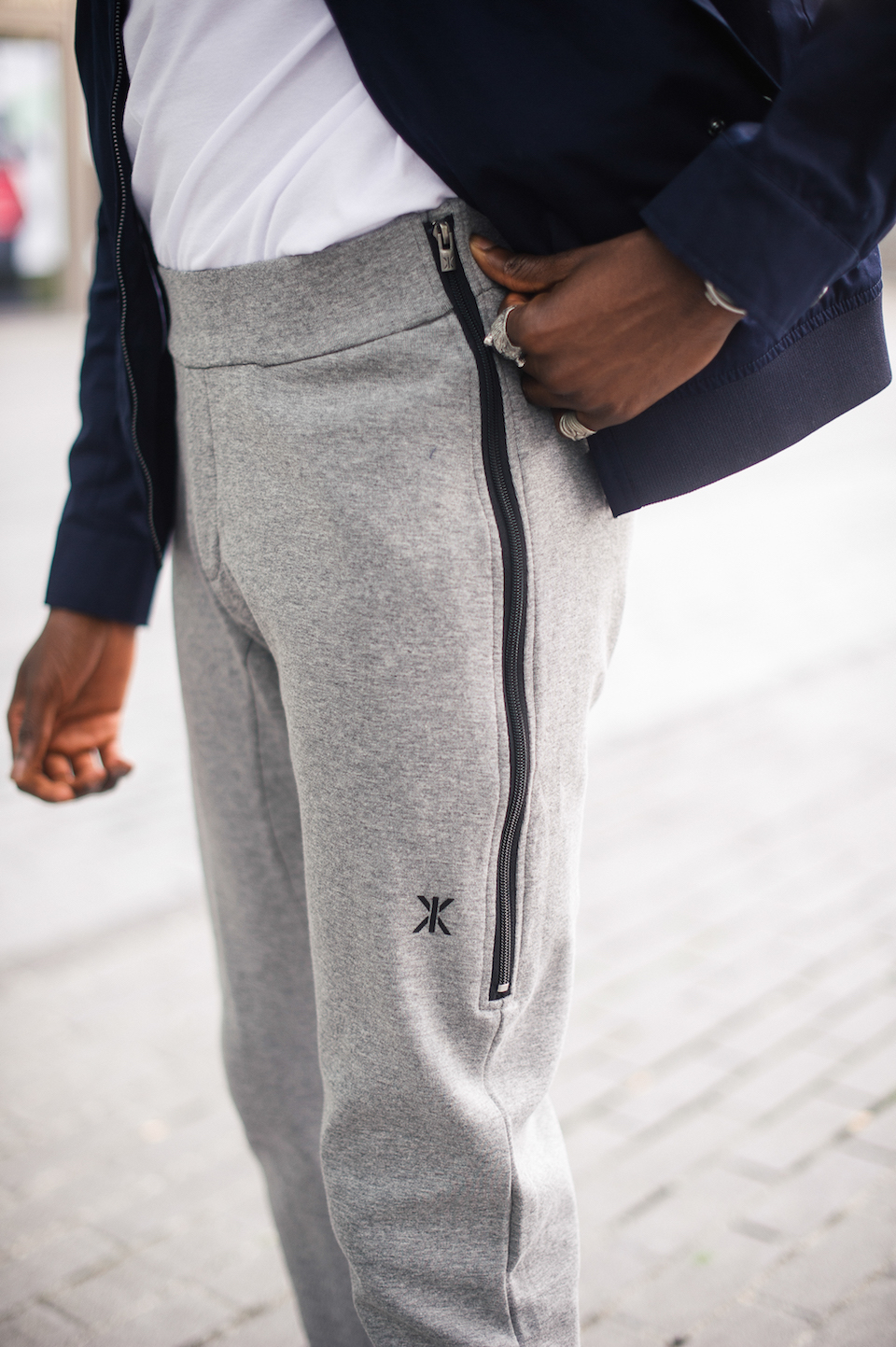 jogging gris jersey look homme