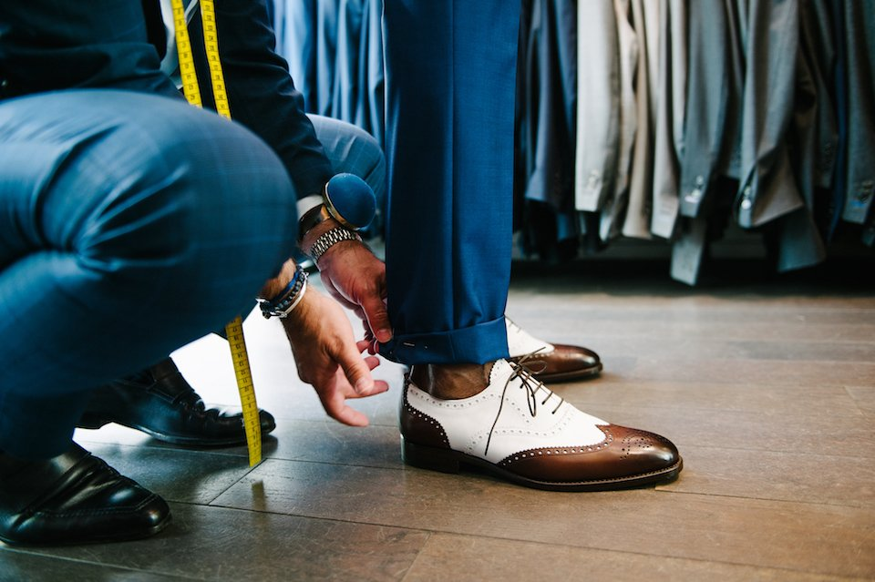 ourlet pantalon costume bleu mariage samson