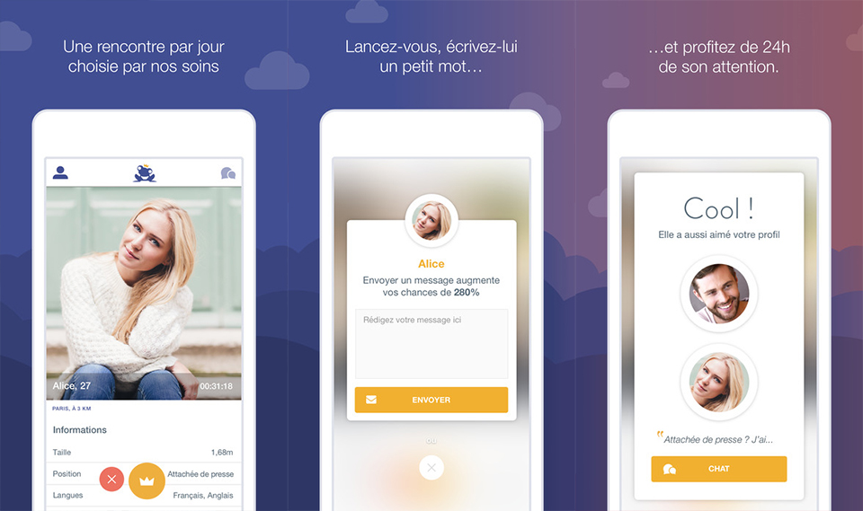 application rencontre date app once