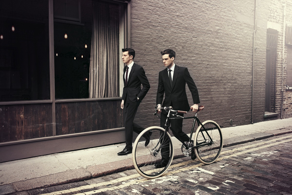 Black Suits Bicycle Streetstyle