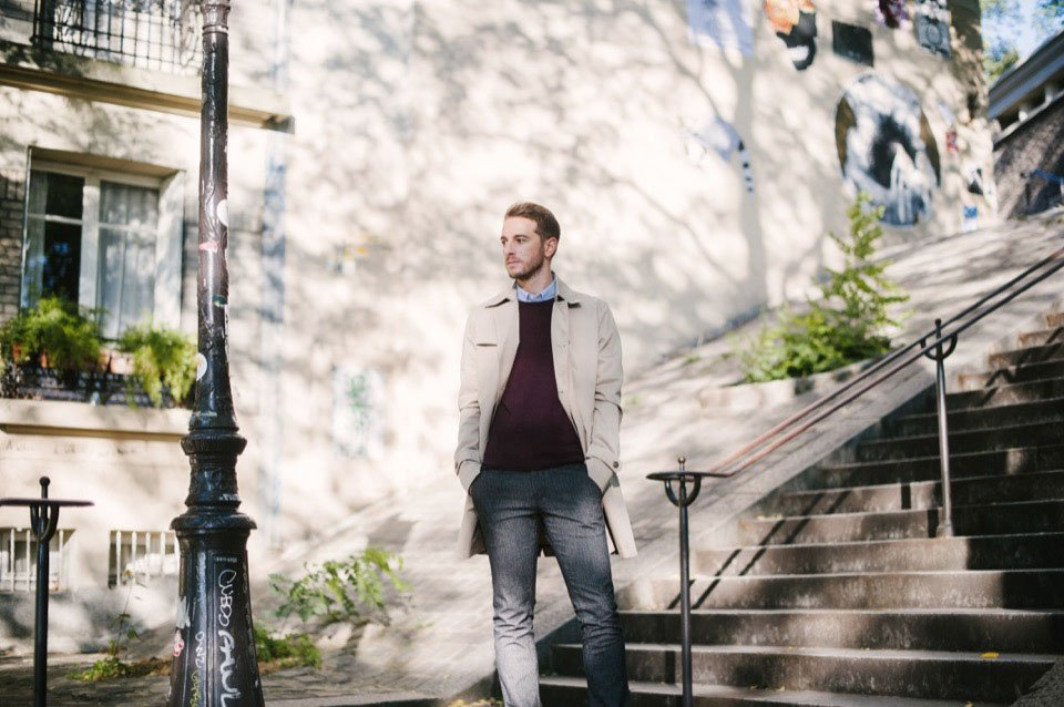 montmartre trench benetton pull bordeaux pantalon hugo boss chaussure loding