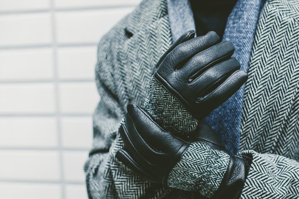 gants cuir chevrons dents