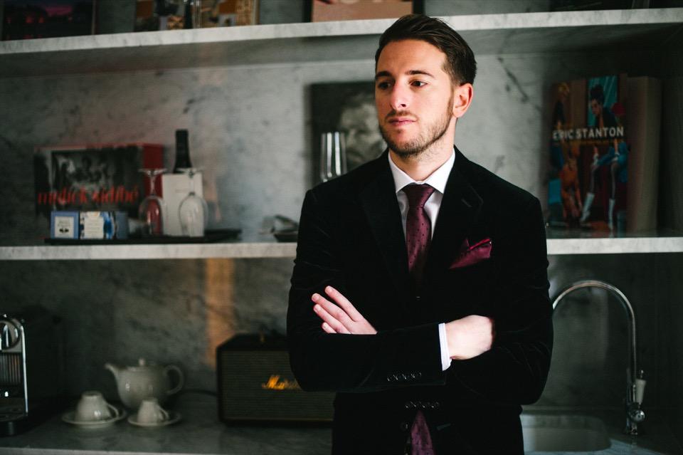 veste velours ralph lauren cravate rouge
