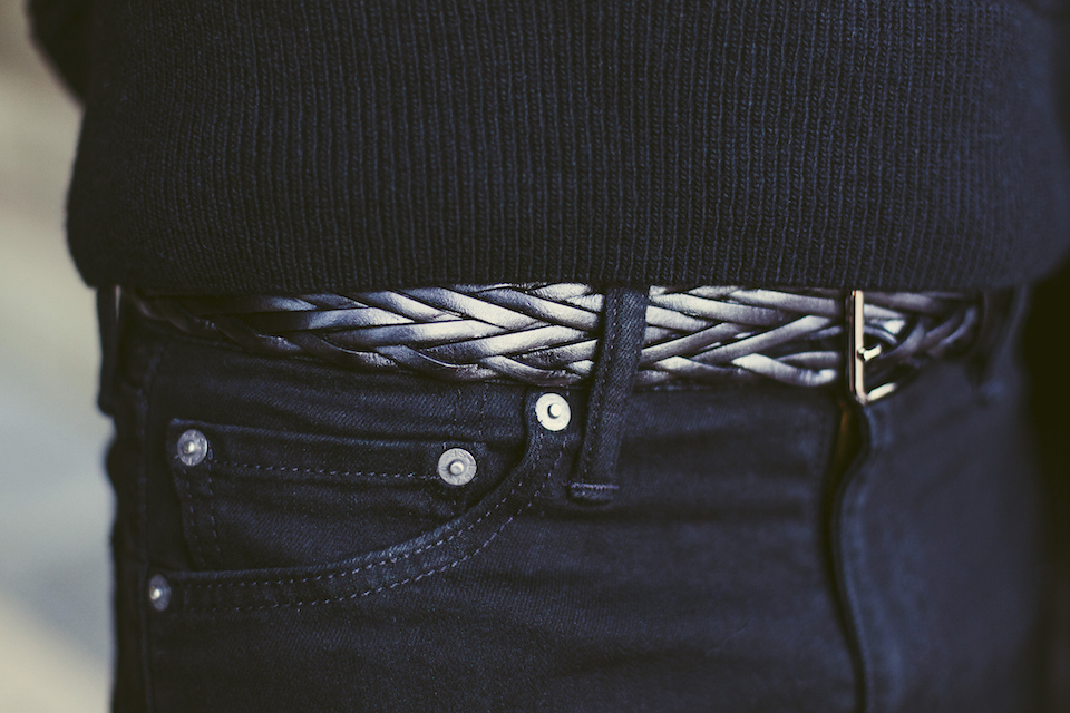 ceinture cuir tresse noir atelier particulier