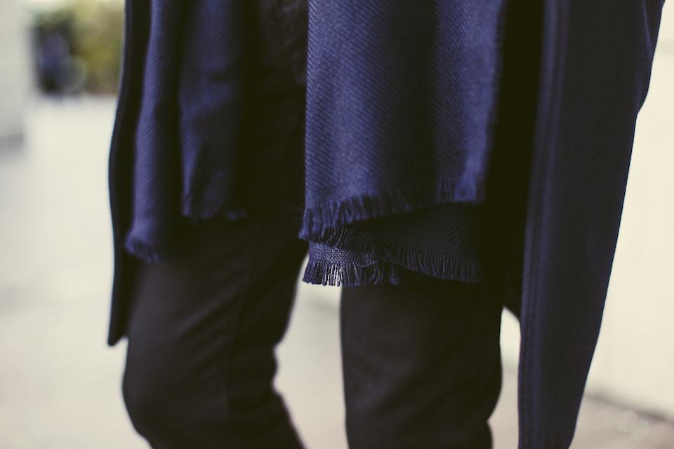 echarpe bleu laine atelier particulier