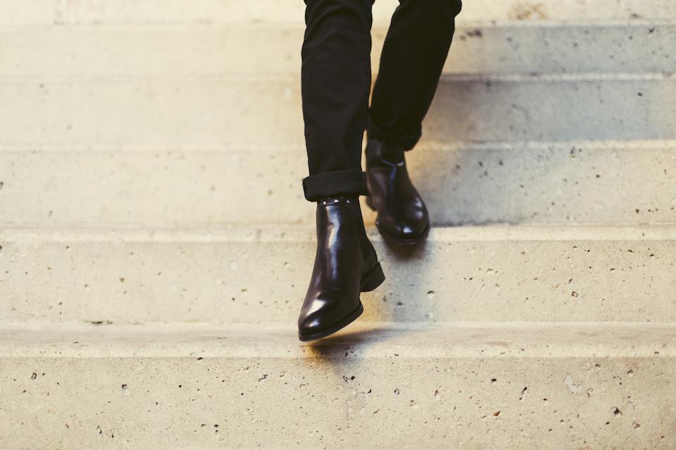 look homme rock noir chelsea boot