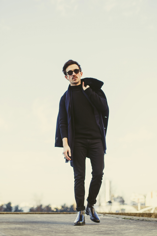 look noir homme casual chic rock
