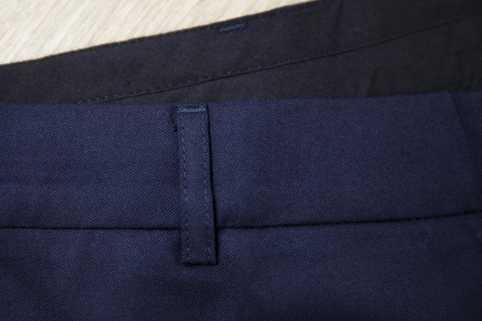 Pantalon Relax Navy Laine Passants Haut