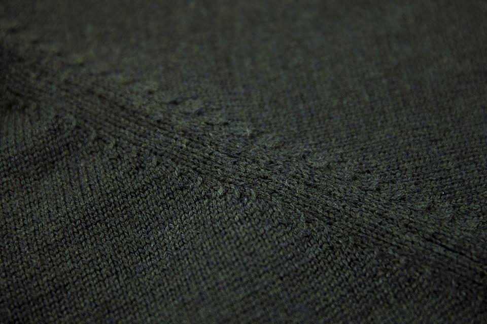 Gilet Zippé Vert Couture Laine