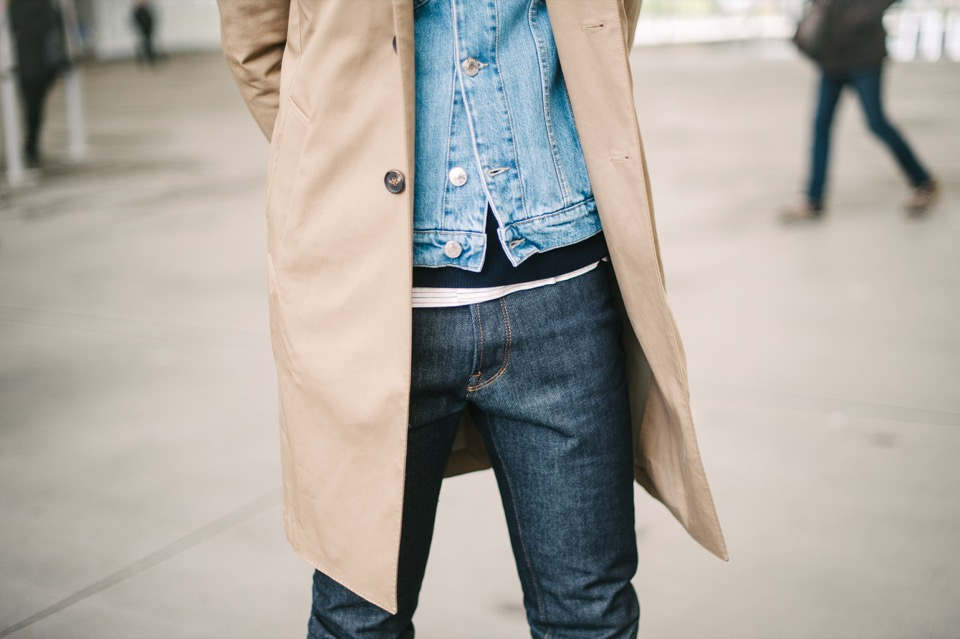 Superposition Forum des Halles Trench veste en jeans pantalon jeans brut