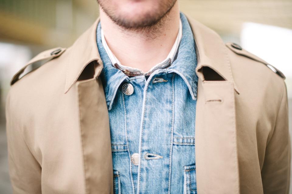 Superposition Forum des Halles cols trench Ly Adams veste en jeans Edition MR chemise