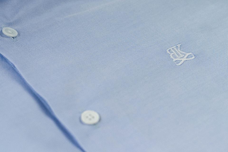 Benklark Chemise Oxford Bleue Logo Boutonniere