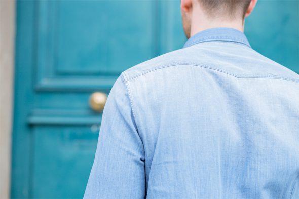 chemise atelier privé denim clair dos