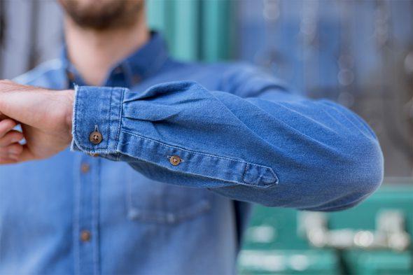 chemise denim brut casual manche