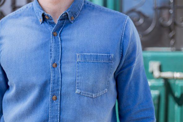 chemise denim brut casual poche