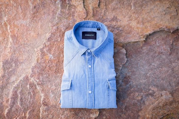 chemise western denim clair