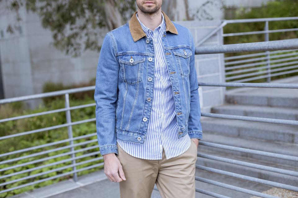 veste en jeans col velours river island