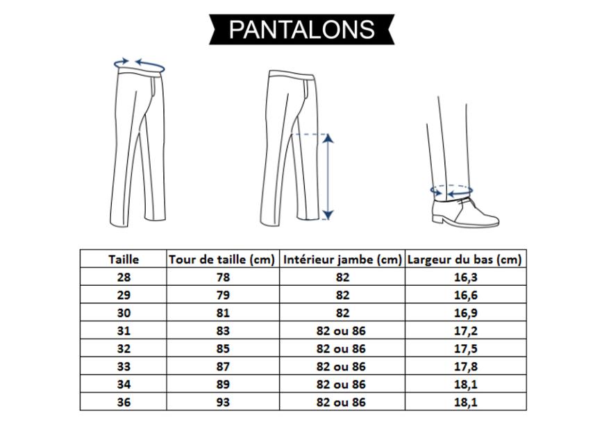 Correctif mesures pantalons