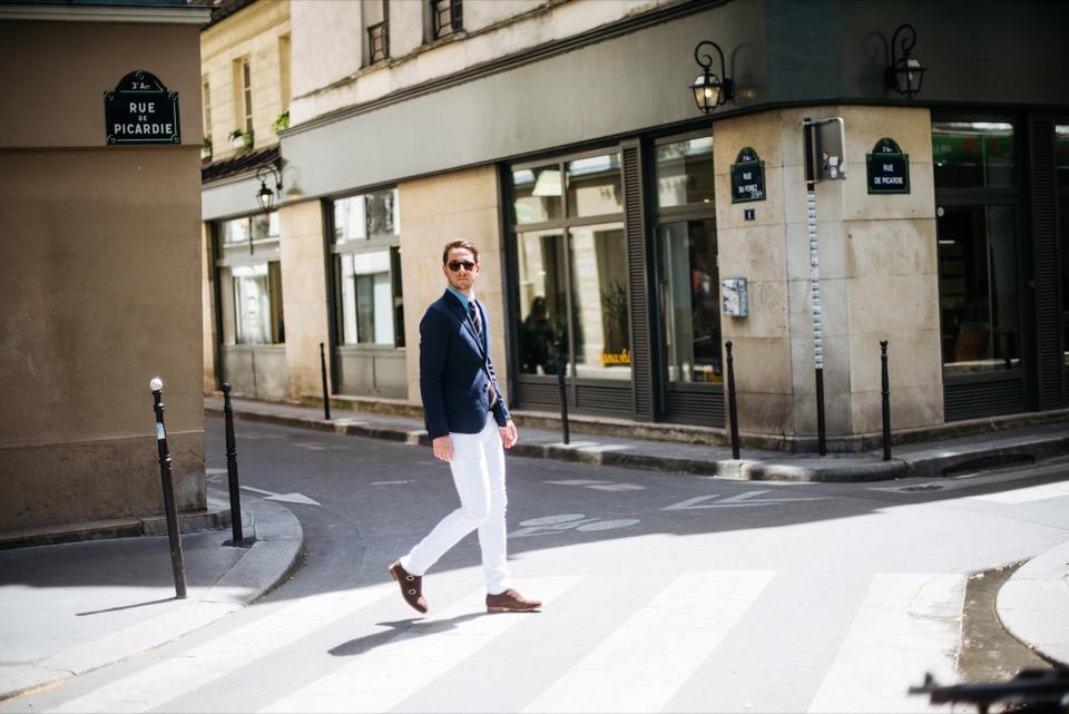Sprezzatura Marais Paris Passage pietons jeans blanc