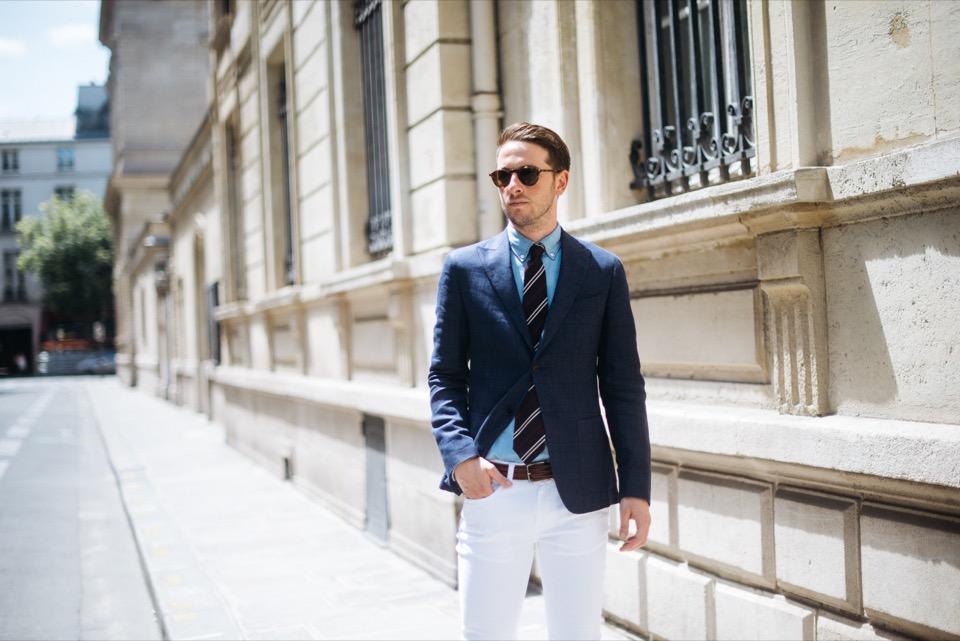 Sprezzatura Paris ceinture Hugo Boss Veste lin bleu