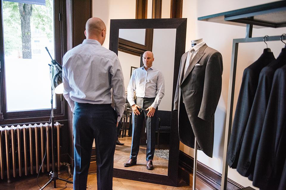 Costume Scabal Essayage Pantalon-Miroir