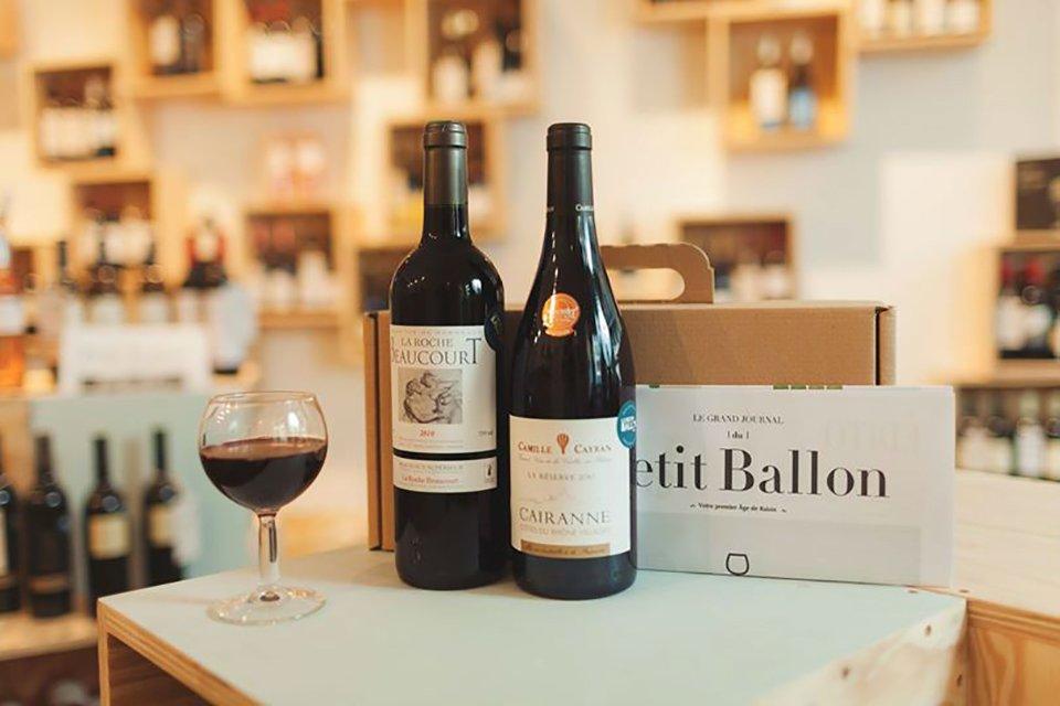 petit ballon box bouteilles vin rouge