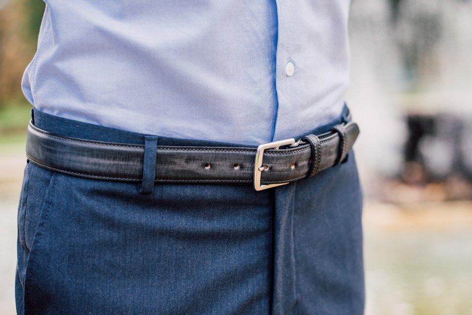 ceinture cuir patine noir atelier particulier