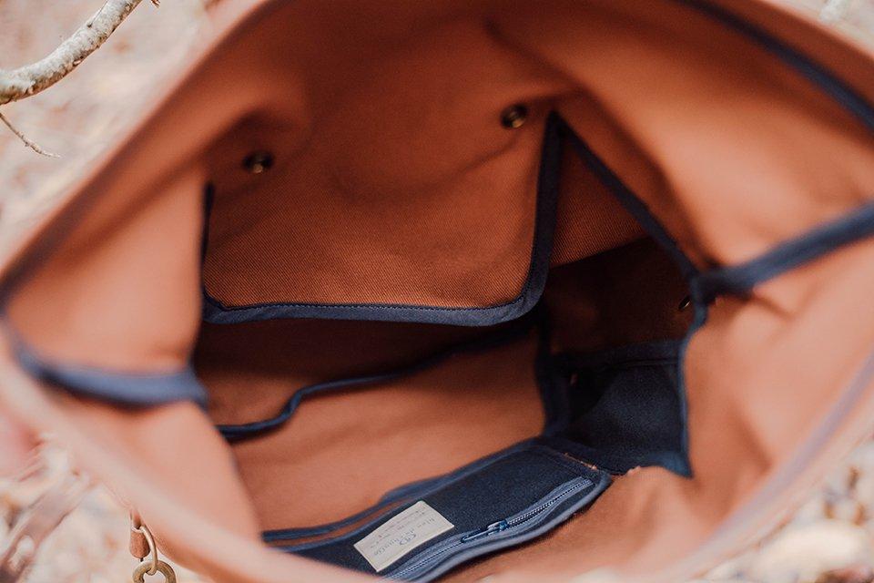 sac dos intérieur bleu de chauffe