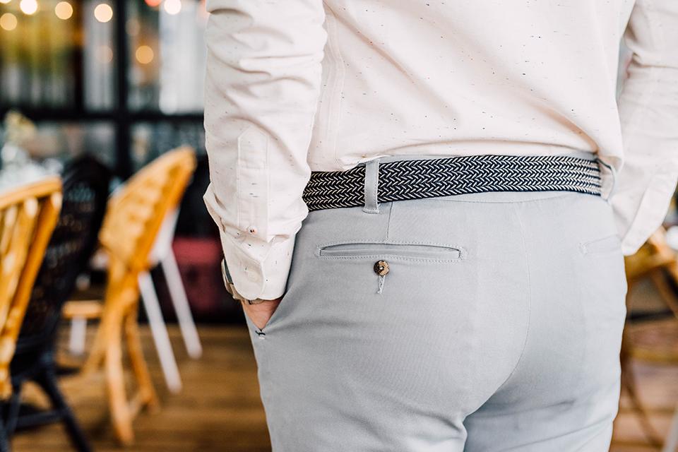 chino ceinture faguo gris